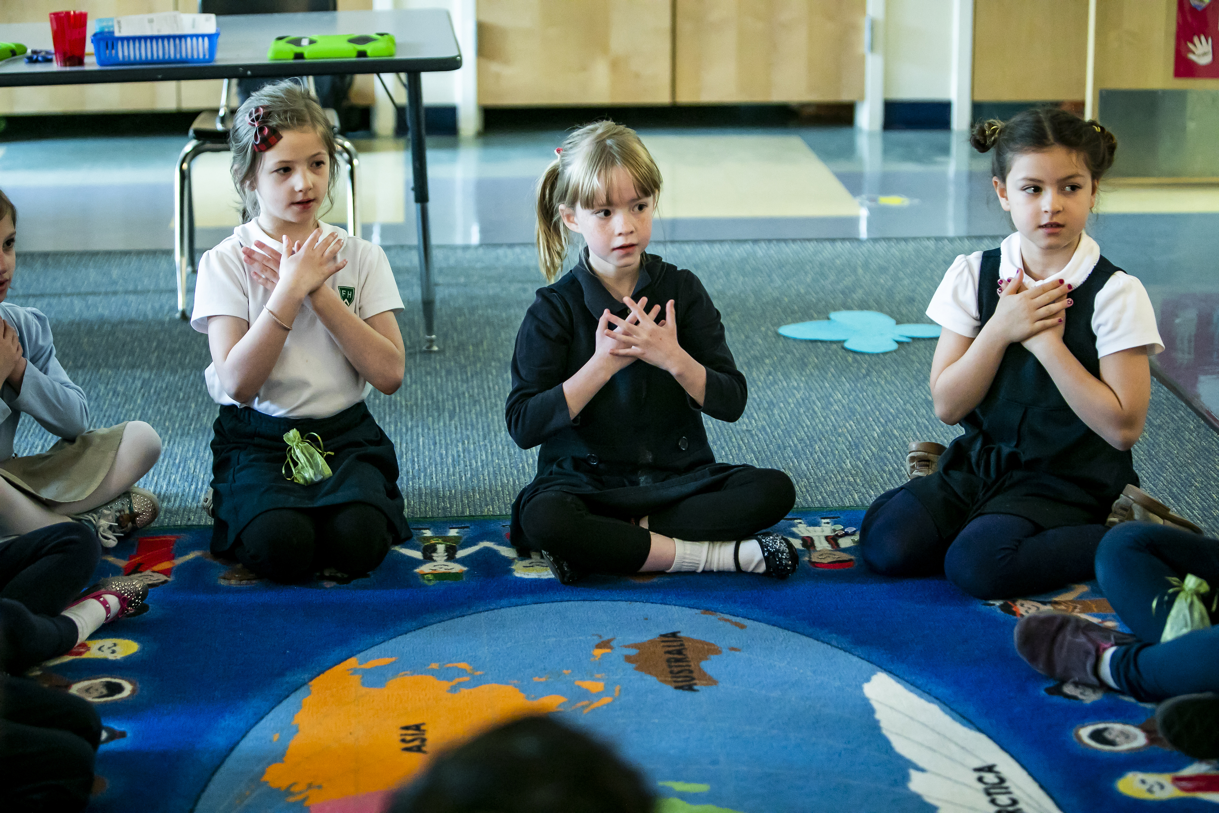 Grade 2 students participating in moment of mindfulness