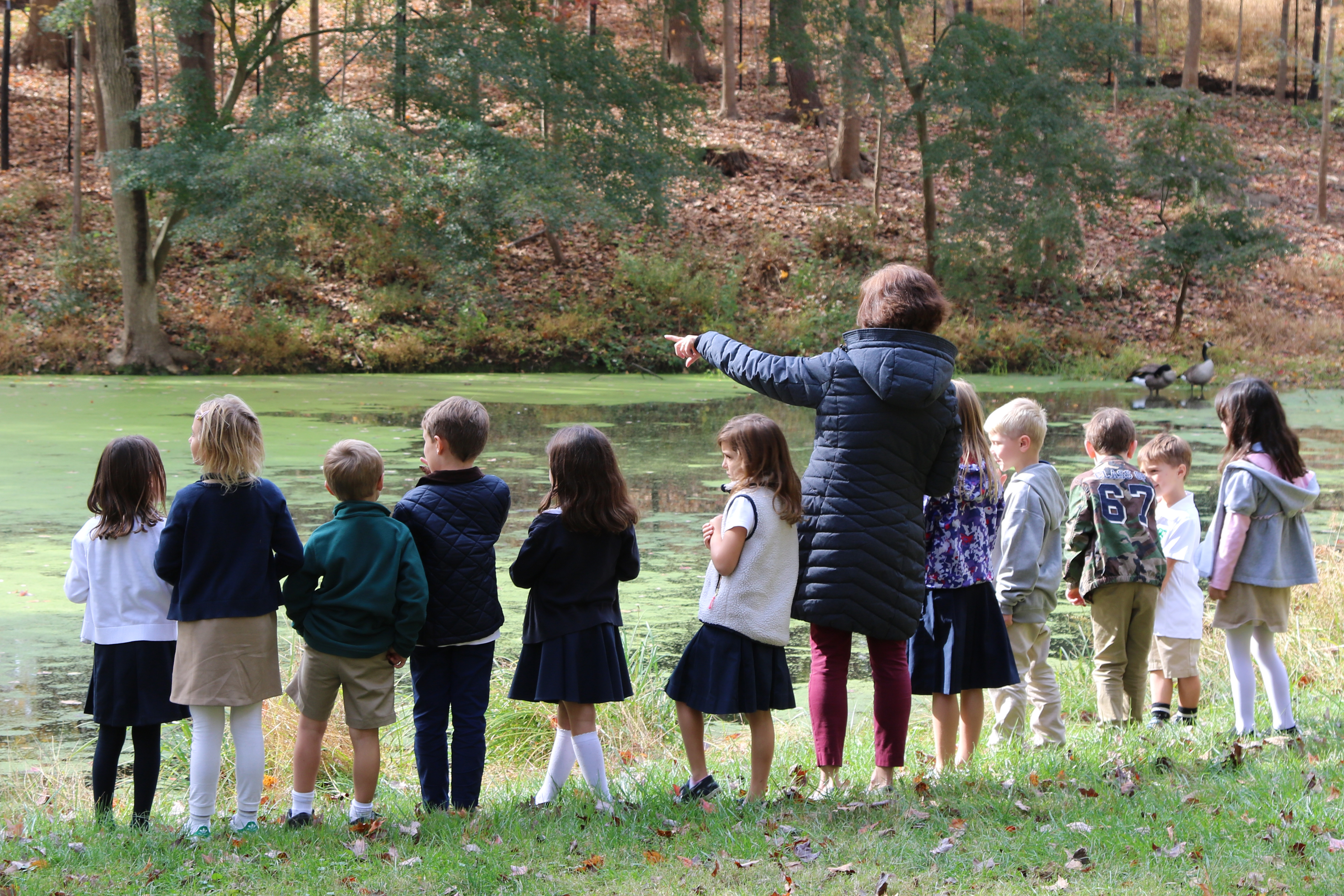 Class looking at pond with teacher